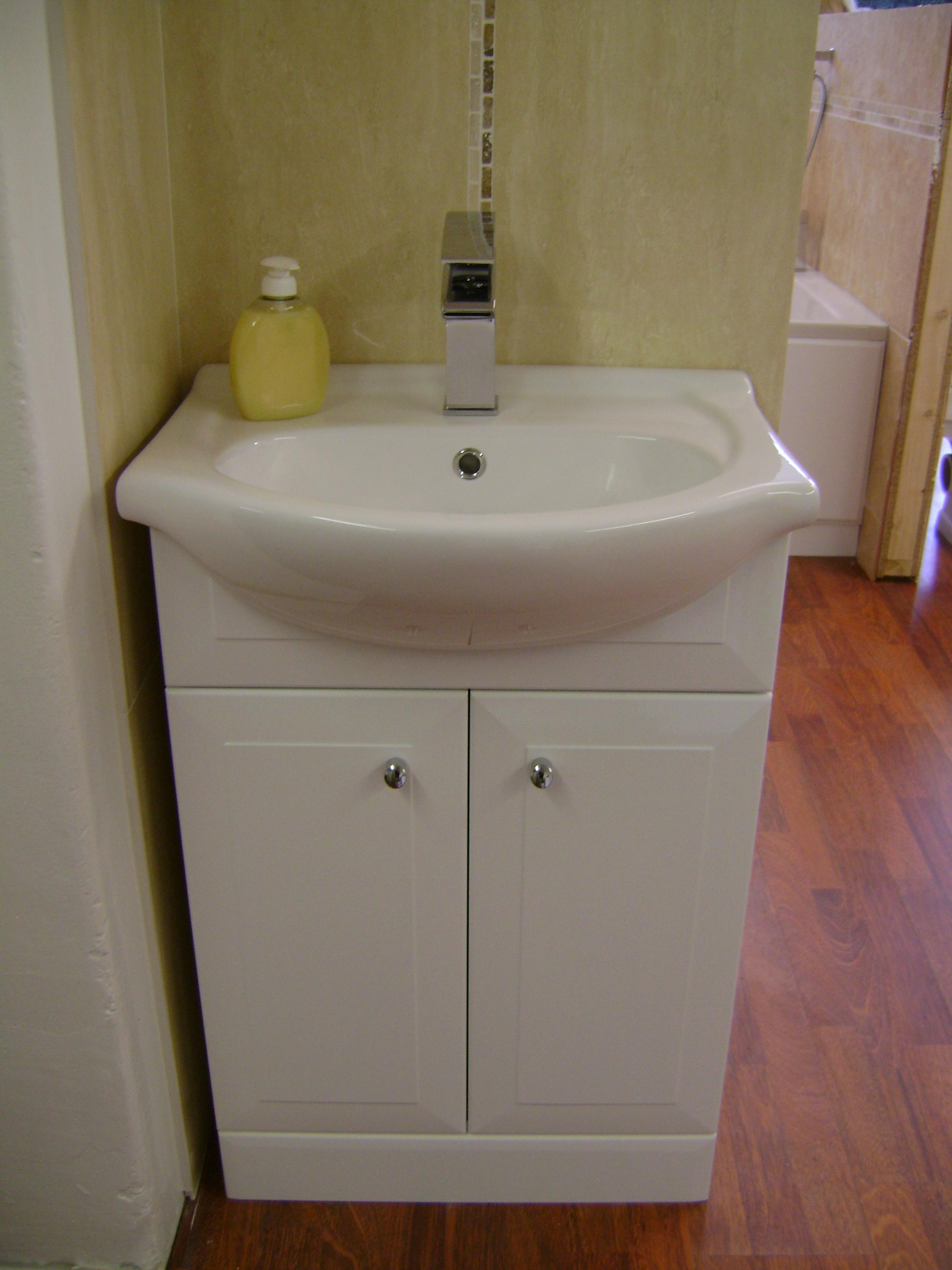 B q bathroom vanity units b q white vanity unit basin for Bathroom storage ideas b q